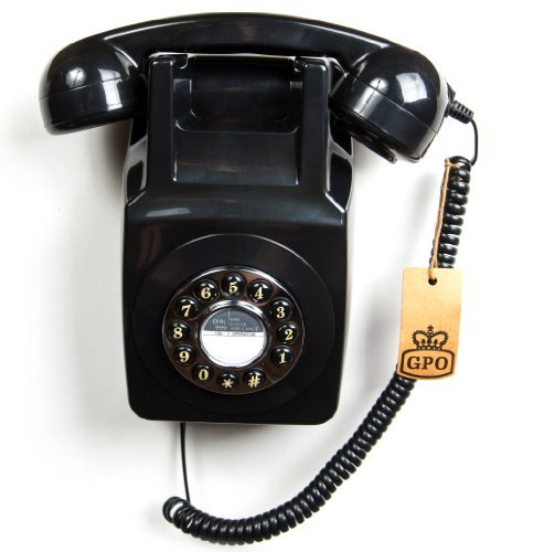 GPO 746 Teléfono fijo retro de pared con botones - Cable en espiral, timbre auténtico - Negro