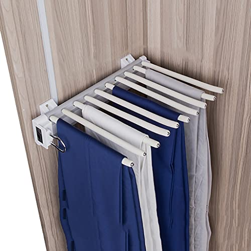 FKDEKUZI Trouser Hanger Rack for Closet,Extendable Pants Holder Shelf with 10 Arm,Wardrobe Organizer Storage Rack - White