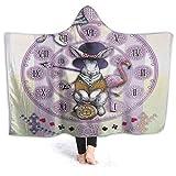 888 Manta de felpa con capucha para llevar, reloj victoriano, lindo conejo colorido de dibujos animados, manta de forro polar suave y cálida para sofá, cama, viaje en casa, 127 x 101 cm