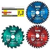 kwb 584699 Jeu de lames de scie circulaire 160 x 25/20/16 mm pour scie circulaire manuelle ou scie à onglets, radiale, à traction pour panneaux, matériaux et matériel de construction, 584699