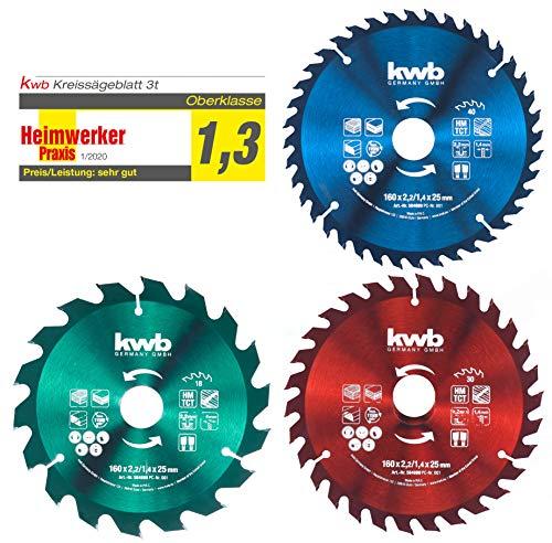 kwb Kreis-Sägeblatt-Set 160 x 25/20 / 16 mm für Handkreis-Sägen f. Platten-Werkstoffe u. Baustoffe aus Holz inkl. Reduzier-Ringe auf 16 u. 20 mm