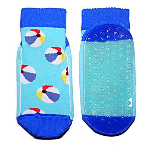 Weri Spezials Strandsocken für Baby und Kinder mit ABS Beschichtung, Aqua-Socken Madchen Jungen Schwimmschuhe mit Strandbälle, von Größe 19 bis 38, in 2 tollen Farben (23-26, Türkis)