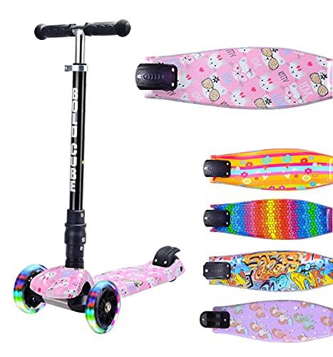 BOLDCUBE Dreirad Roller mit PU LED Räder - ab etwa 5 Jahre - 4 Stufen Einstellbare Höhe - faltbar - der sichere Premium Kinder Roller - TÜV geprüft Kickboard Tretroller (Kitty Liebe)