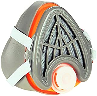 CANHEAL Dust Mask Washable and Reusable + 4 Active Carbon Filters Included, Multi-Purpose Particulate Respirator (Medium - Large, Gray/Orange)