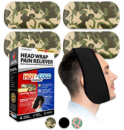 Hawwwy Head Wrap Pain Reliever (1 Wrap, 4 Reusable Hot Cold Gel Packs) Perfect for Wisdom Teeth Tooth TMJ Splint Face Chin Head Oral Surgery Headaches Migranes Jaw Dental Relief Heating Pad Ice Pack