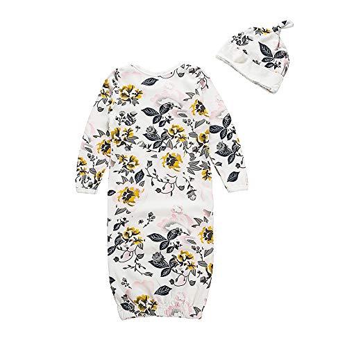 DaMohony Baby Empfangsdecke Kit 2 Stück Blumendruck Atmungsaktive Und Bequeme Babyparty Wickel mit Schlafmütze für 0-3 Monate Altes Neugeborenes