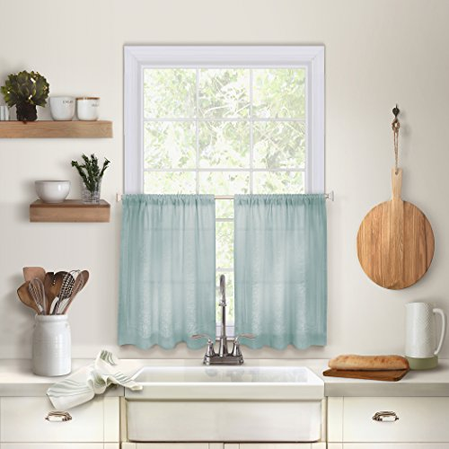 """Elrene Home Fashions Cameron Solid Hemstitched Rod Pocket Cafe/Kitchen Tier Window Curtain, 30"""" W x 24"""" L Each (Set of 2, Mineral Blue, 2 Count"""