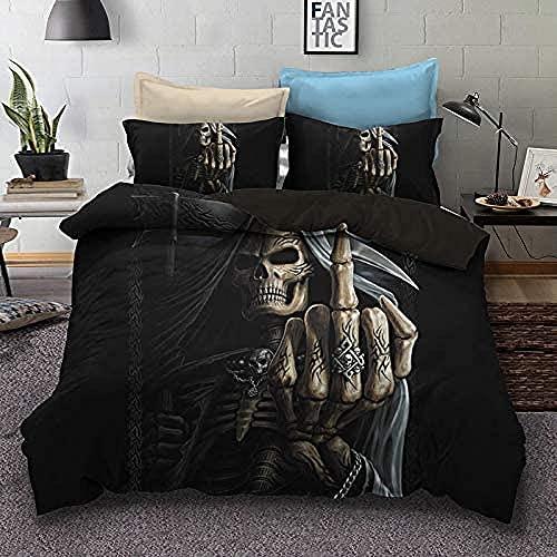 Juego de Funda Nórdica Gothic Skull 260 x 240 cm Skeleton Bones Juego de Cama Juego de Colchas 3 Piezas Negro Dedo Medio cráneo Microfibra Funda Nórdica Halloween para Adulto Niños y Adolescentes