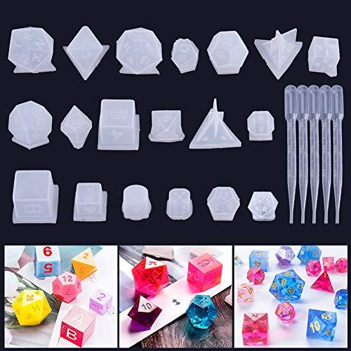 Umisu - Kit de resina epoxi de 19 estilos, de poliéster 3D moldeado DIY, transparente, con números de letras para juegos de rol, juegos de sociedad
