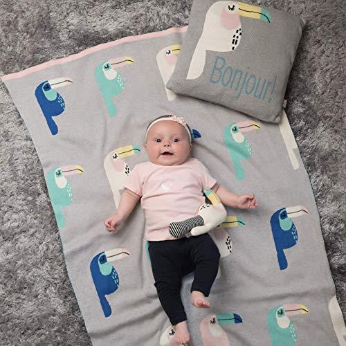 Sevira Kids - Couverture bébé en coton bio - Plaid enfant Tricot - douce - label GOTS - Cadeau naissance - Toucan