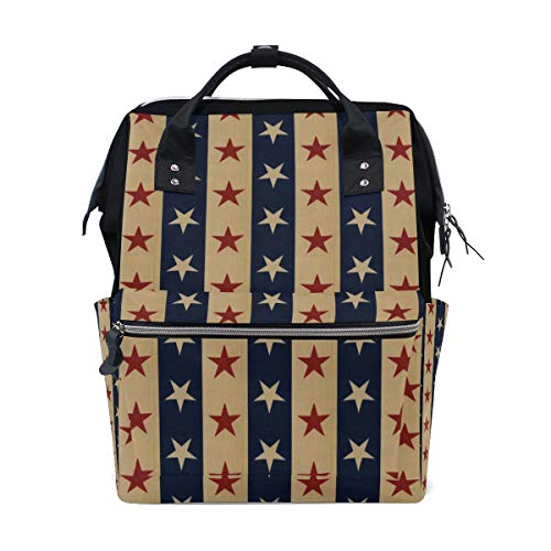 Montoj 4. Juli Independence Day American Flag Stars Canvas Rucksack Travel Campus Rucksack