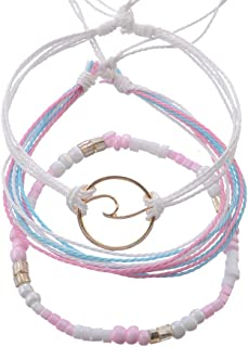 Handmade Braided Wax Rope Adjustable Strand Wrap Bracelet Set Waterproof Wave Shell Charm Stretch Knot String Thread Bracelets Friendship Jewelry (I Style)
