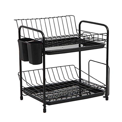 KEKEYANG Estante de cocina, spray negro pintura doble drenaje rack de almacenamiento de acabado rack rack rack de almacenamiento de la cocina cesta de almacenamiento escurridor