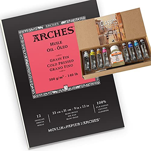 Arches Oil Paper Pad, 140 lb, Cold Pressed, 9'x12' with Maimeri Oil Classico Intro Set, 8 Assorted Colors 20ml tubes, with Oily Thinner and Brush, Oil paint set