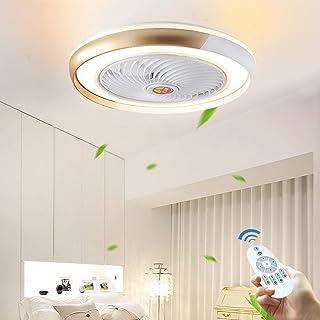 Ocultos LED Ventilador De Techo Luz De La Lámpara Del Techo Contemporáneo 36W Regulable Con Mando A Distancia Para Ultra Quiet Los Dormitorios De Niños Lámpara Sala De Estar Can Iluminación,Oro