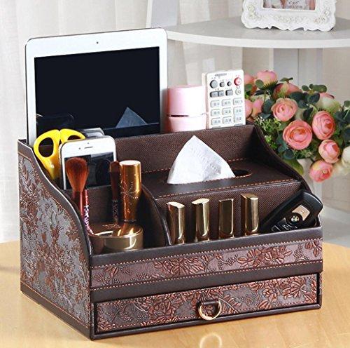 Multi-funktionale Pu Leder Schreibtisch Veranstalter Make-up Veranstalter Gewebekasten ordentlich Visitenkarte Stift Handy Fernbedienung Halter Aufbewahrungsbox , b