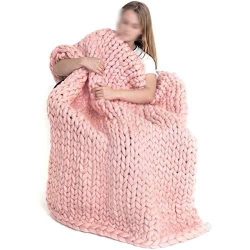 ZWDM Manta De Punto Grueso Manta Hecha A Mano De Fibra De Poliéster Gruesa De Punto Grueso Punto Sofá De Silla De Cama para Mascotas Manta De Cubierta Regalo (Color : Pink, Size : 100x150cm)