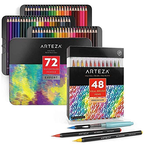 Arteza Real Brush Pens and Waterolor Pensils Bundle, Drawing Art Supplies for Artist, Hobby Painters & Beginners