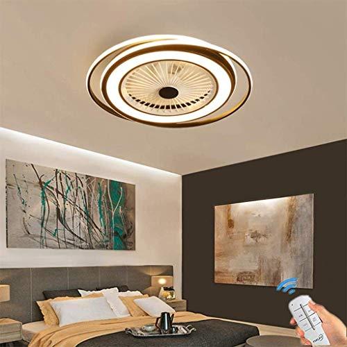 Deckenventilator mit Licht Unsichtbarer kreativer Ventilator mit dimmbarer Fernbedienung Ultra Silent LED-Ventilator Deckenleuchte Wohnzimmer Modernes Schlafzimmer Deckenventilator Hängeleuchte, Schwarz