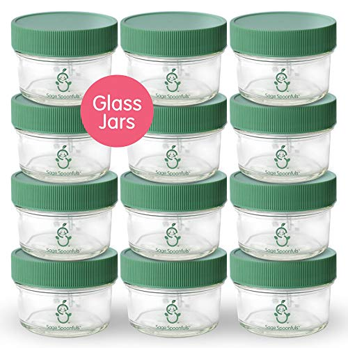 Cheap Glass Baby Food Storage Containers | Set of 12 | 4oz Glass Baby Food Jars with Lids | Freezer ...