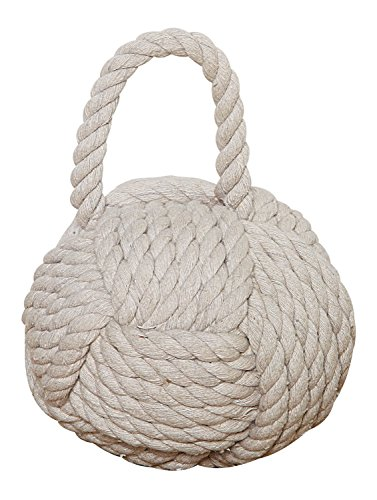 Creative Co-Op Nautical Rope Knot Cotton Door Stop, Ivory