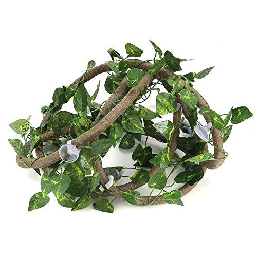 HEEPDD Künstliche biegbare Reben Reptilien Lebensraum Terrarium Dekoration Inklusive 9.84ft Jungle Rttan Realistisch Vine Leaf und Saugnäpfe(9.84ft Rattan + Scindapsus-Blätter)