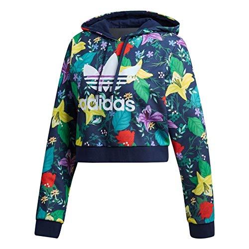 Adidas - Felpa con cappuccio, da donna, multicolore multicolore 46
