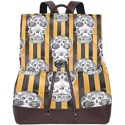 Backpacks,Yellow Ghost Skull Stripe Women's PU Leather Backpack Bookbag School Shoulder Bag