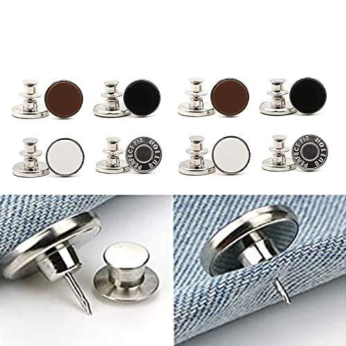 Button pins for Jeans, 17mm Replacement Jean Buttons, No Sew Instant Button Detachable Pants Removable Adjustable Metal Button, Cowboy Clothing Jackets Pants Bags Button Pins (12)