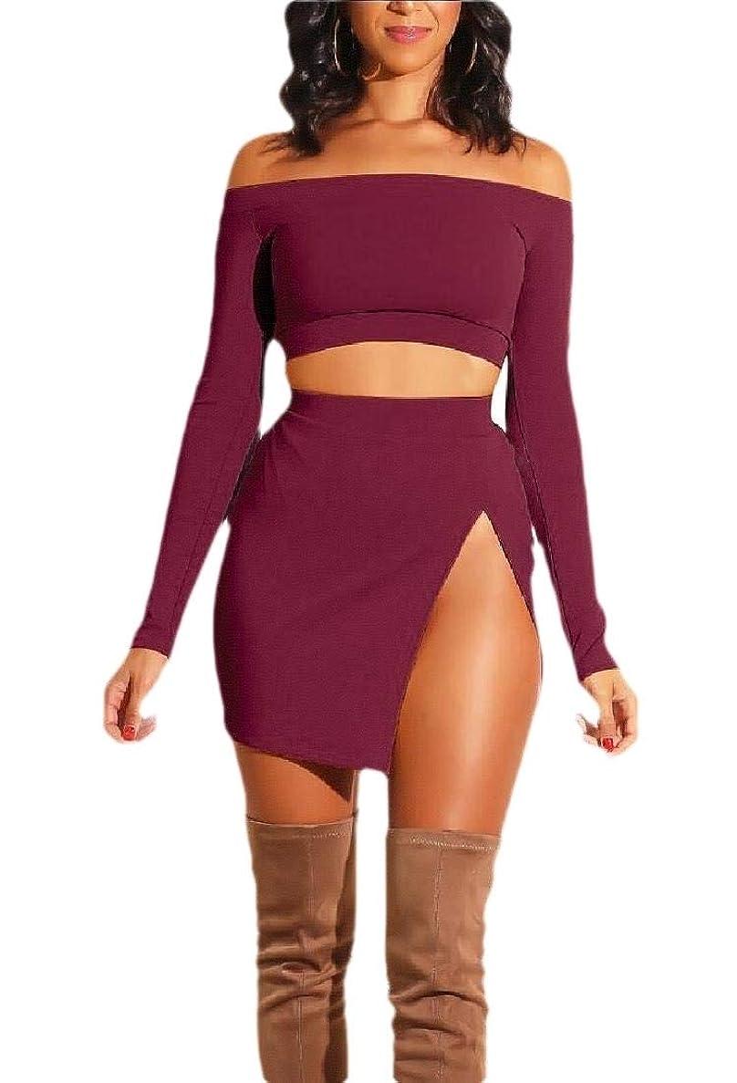 衝突エキス動的オフショアロングスリーブトリムスカートは、女性のセクシー2ピースアウトフィットセット