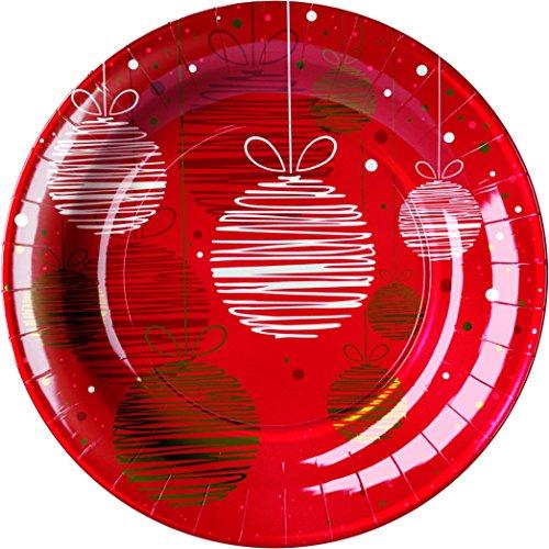 GIRM - B125640 Piatti Piani Christmas Balls 8pz. - Piatti di Cartone Rossi con Disegni, Piatti Natalizi, Piatti Rossi Natalizi, Piatti Carta Rossi, Piatti Resistenti Rossi, Piatti Palle di Natale