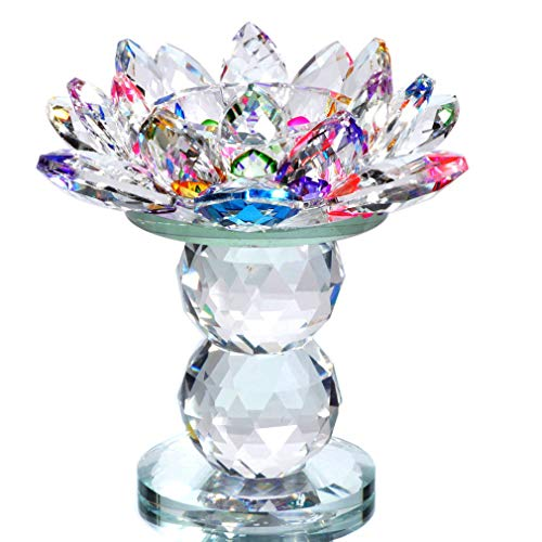 Waltz&F Crystal Lotus Flower Tealight Candle Holder 4.5 Inch,Colorful