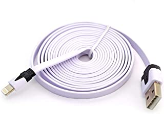Flat Noodle Cable Data Sync Charger Cord for IOS iPhone - White