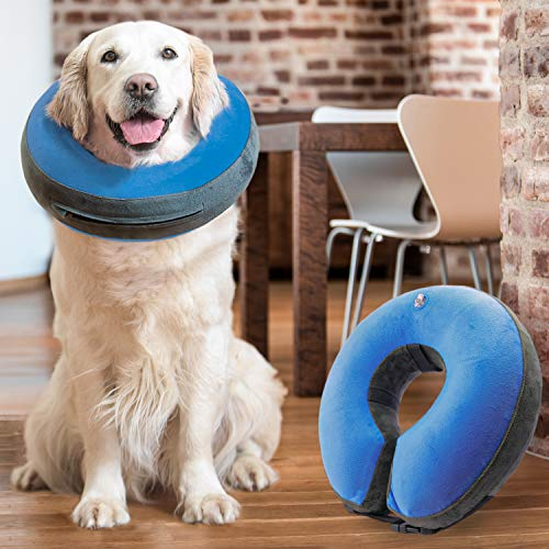 GoodBoy Comfortable Recovery E-Collar for Dogs and Cats – Soft Inflatable Donut Collar Designed for Protecting Small Medium or Large Pets Post Surgery or Wounds (Blue, 3)