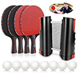 Number-one Ping Pong Paddle Set, Portable Ping-Pong Game with 4 Premium Table Tennis Rackets and 8 Ping-Pong...