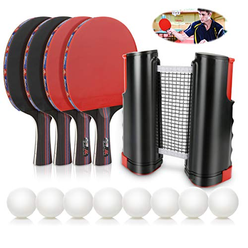 Buy Discount Number-one Ping Pong Paddle Set, Portable Ping-Pong Game with 4 Premium Table Tennis Ra...