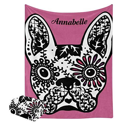 Personalized Throw Blanket Custom French Bulldog Sugar Skull Blankets with Name for Family, Friends, Dogs or Pets, Throw Fleece Blanket Tapestry as Souvenirs and Gifts (50x60inch)