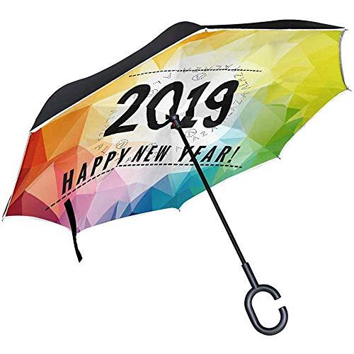 Omgekeerde paraplu Kleurrijke Gelukkig Nieuwjaar 2019 Omgekeerde paraplu Omkeerbaar voor Golf Auto Reizen Regen Outdoor Zwart