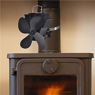 Mississ Ventilador de Estufa de 4 Palas Alimentado por Calor, Ventilador de Chimenea silencioso de Ahorro de energía para leña/Quemador de leña/Tubo de Chimenea de 152 mm, sin Consumo de Pleasure