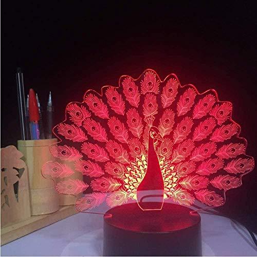 Lámpara de mesa de noche OUUED Lámpara de ilusión LED 3D Peacock Spreads Tail Peafowl Night Light 7 colores cambiantes Mesa de animales Decoración para el hogar Regalos 3.28 Aniversario Bud
