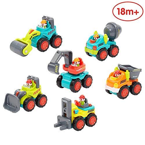 ANIKI TOYS Kunststoff Spielzeugauto, 6 Baufahrzeuge in Einem Set LKW Spielzeug für Kinder ab 18 Monate - Bulldozer, Zementmischer, Kipper, Gabelstapler, Bagger und Straßenwalze