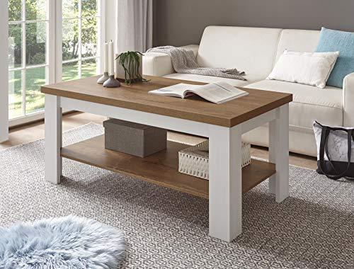 Design-Wohngalerie Couchtisch Provence - Pinie Weiß/Eiche hell Dekor