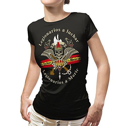 ALBERO Camiseta Mujer Negra Legión Española Blue Line Soy El Novio de la Muerte (L)