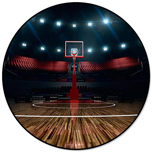Alfombra Redonda Decorativa para el hogar Moderna, Juego de cancha de Baloncesto, alfombras de salón Redondas Impresas, Alfombrilla Antideslizante para Dormitorio, diámetro_120cm