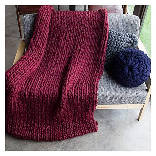 Manta De Poliéster De Punto Grueso Hecha A Mano para El Sofá para Mascotas Suave De Punto para Cama O como Decoración (Color : Wine Red, Size : 100x100cm)