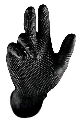 Guantes desechables de nitrilo extra resistentes Gripster Skins – Paquete de 50 / 25 pares – EPI Cat 3 guantes sin polvo por Gocableties, nitrilo., negro, Medium / Size 8