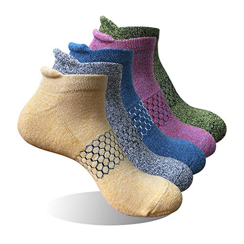 Winhot Womens Ankle Running Socks Athletic Outdoor Sock Cushioned Performance Breathable Tab 5 Pack