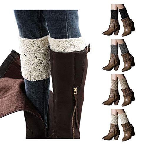 LADES DIRERCT Damen Stulpen Socken - Winter Kurze Stricken Stulpen Gestrickte Beinwärmer Leg Warmers Socken Stiefel Boot Abdeckung (Schwarz+Weiß+Grau+Beige)