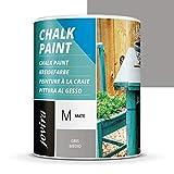PINTURA EFECTO TIZA,CHALK PAINT, AL AGUA MATE, Renueva tus muebles con creatividad. (750 ml, GRIS MEDIO)