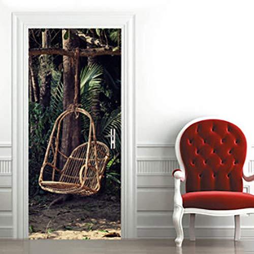 YJX3d schommelstoel deur Sticker zelfklevende slaapkamer muur PVC Sticker